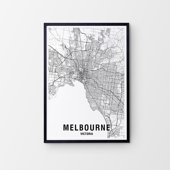 Melbourne Black & White Map Print