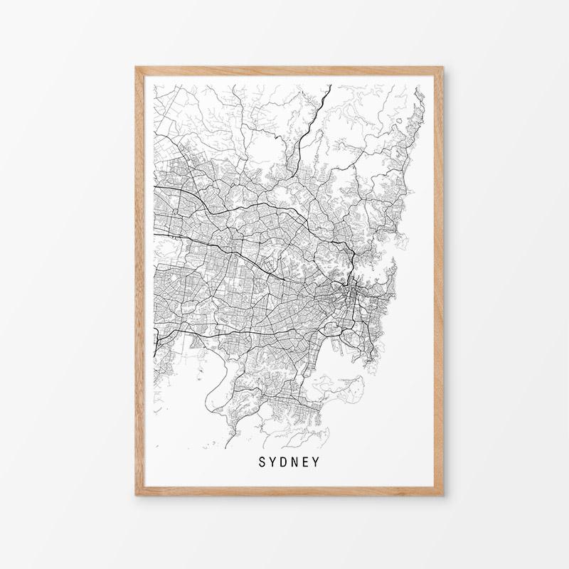 Sydney Black and White Map Print
