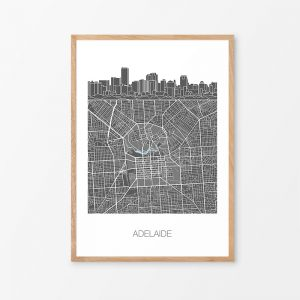 Adelaide Skyline Map Print