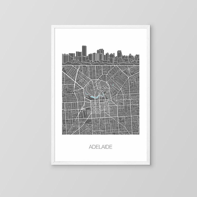 Adelaide Skyline Map Print