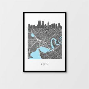 Perth Skyline Map Print