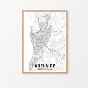 Adelaide Black & White Map