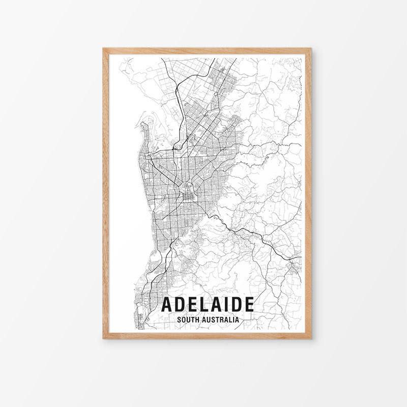 Adelaide Black & White Map