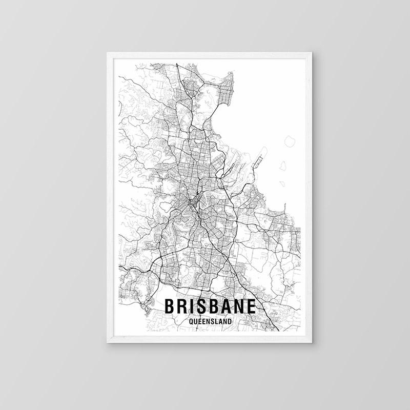 Brisbane Black & White Map