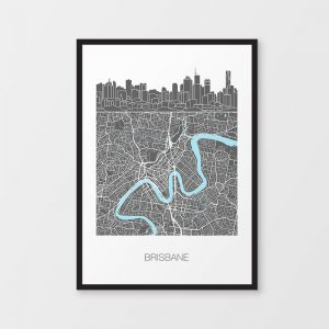 Brisbane Skyline Map