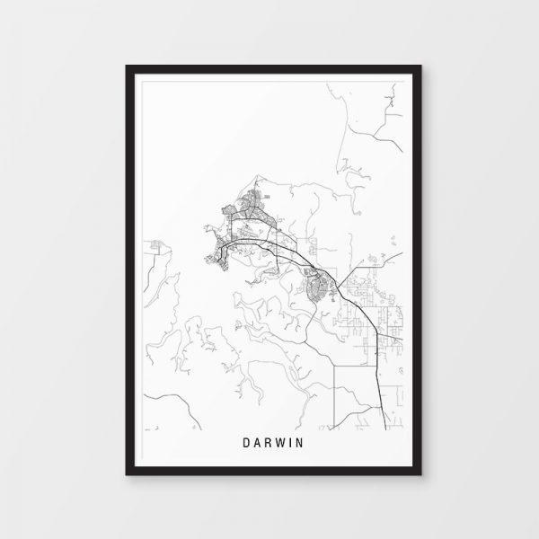 Darwin Minimalist Map Print