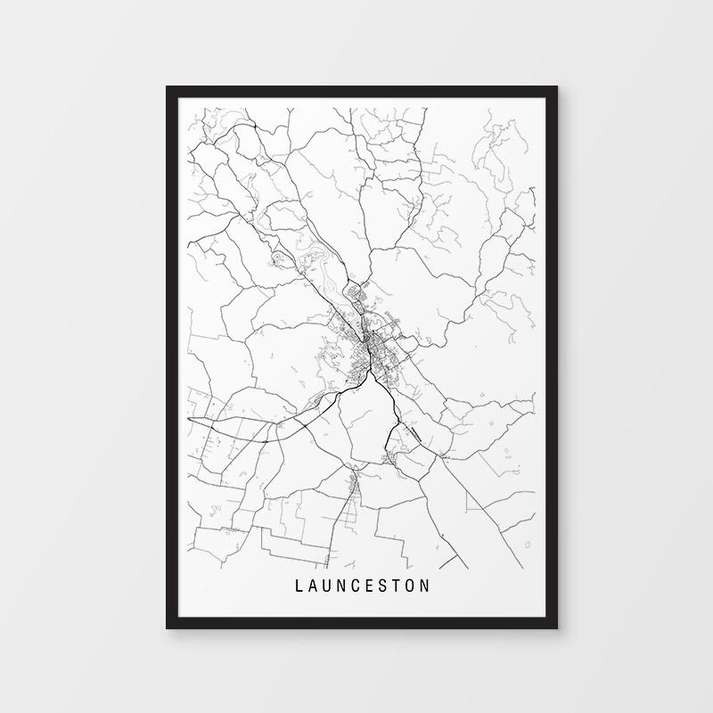 Launceston Minimalist Map Print