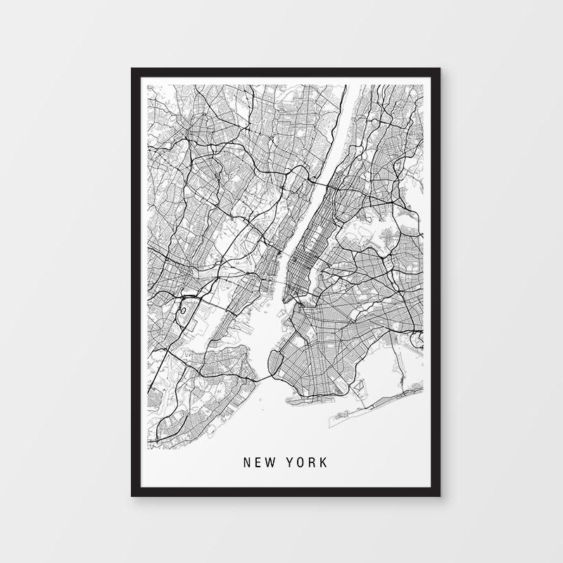 New York Black & White Map