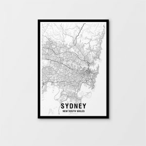 Sydney Black & White Map Print