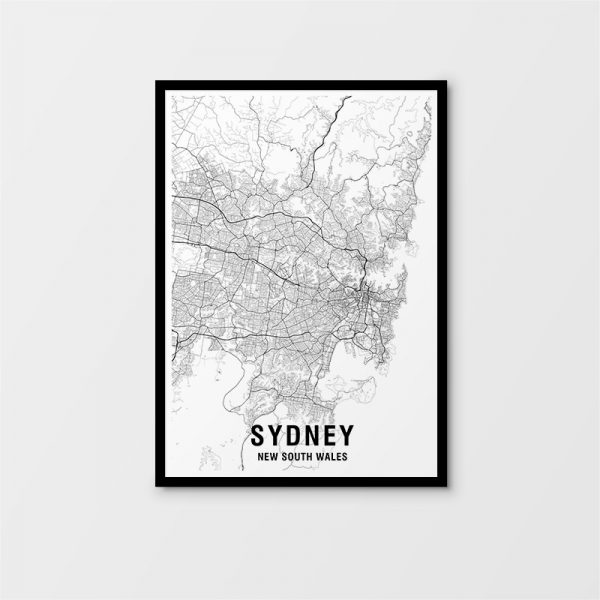 Sydney Black & White Map Print