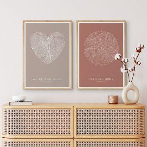 Custom Heart Map Prints