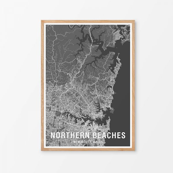 Northern Beaches Two-Tone Map Print