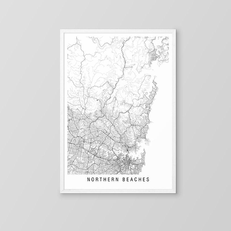 Northern Beaches Minimalist Map
