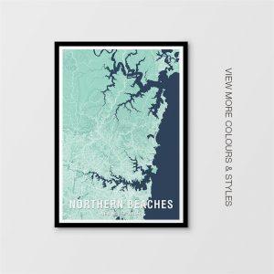 Northern Beaches Map Prints